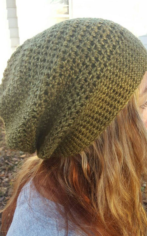 67d90f9b04d8f Army Green Slouchy Beanie Hat - Army Green Women s Hat - Green Crochet Hat  - Green Winter Hat - Gree