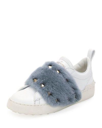 Valentino Rockstud Mink Fur Sneaker