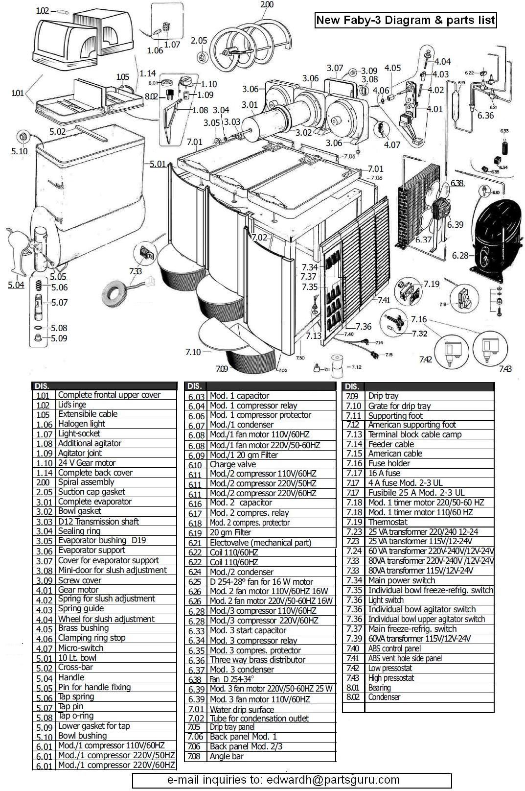 Espresso machine parts diagram