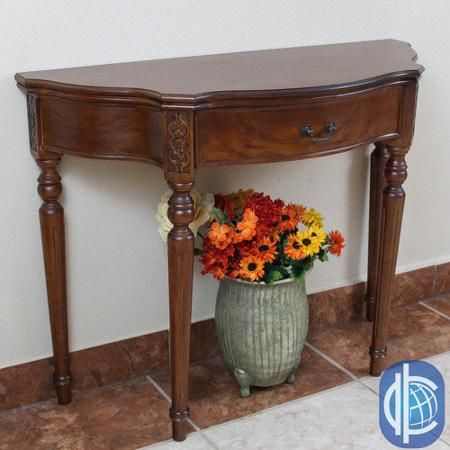 International Caravan Windsor Hand Carved Console Table Carved Chairs Half Moon Console Table Half Moon Table