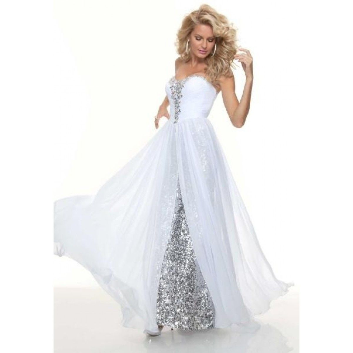 Hotsheath sweetheart long white sequined flowy prom dress with