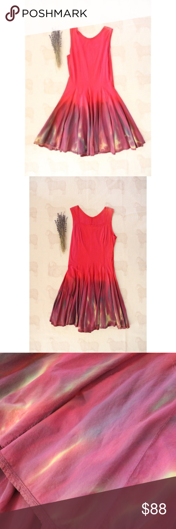 Hot pink color dress  Luna Luz  NWOT Ombre Hot Pink Sundress  Hot pink Ombre and Cotton