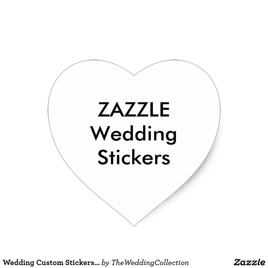 Wedding custom stickers heart matte 20 pk
