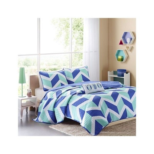 Mi Zone Billie Coverlet Set ($63) ❤ liked on Polyvore featuring home, bed & bath, bedding, quilts, blue, embroidered pillow shams, owl bedding, blue twin bedding, chevron pattern bedding and owl twin bedding