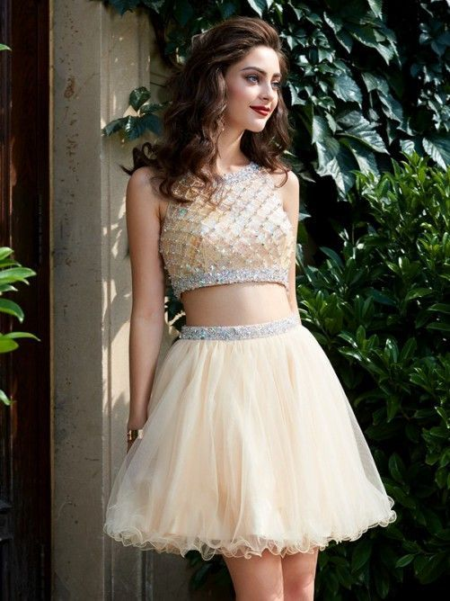 fe71b2948ca two pieces short beaded cute A-line junior homecoming dress