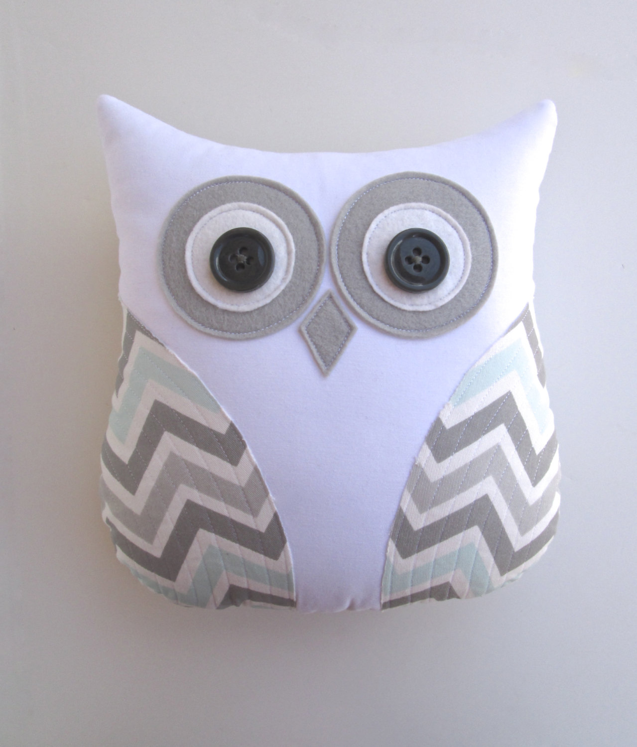 owl pillow grey and blue chevron pillow mist by whimsysweetwhimsy, $39.00