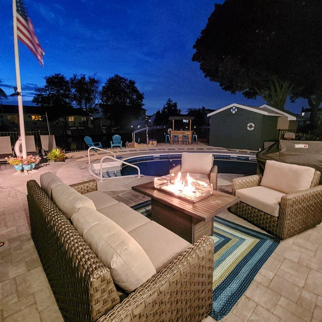 Get yourself a fire pit, all the cool kids are doing it! 🔥🔥⠀ Our High Bar Harbor grouping looks perfect with @outdoorrooms Brooks fire pit. ⠀ ⠀ @thewickery ⠀ ⠀ #outdoorliving #patio #patiofurniture #outdoorfurniture #firepit #firepits #pool #poolfurniture #lounge #relax #summer #fall #hellofall #sweaterweather #bricknj #tomsriver #oceancounty #monmouthcounty #manasquan #walltownship #pointpleasant #brielle #belmar #newhome #newhomeowners #september