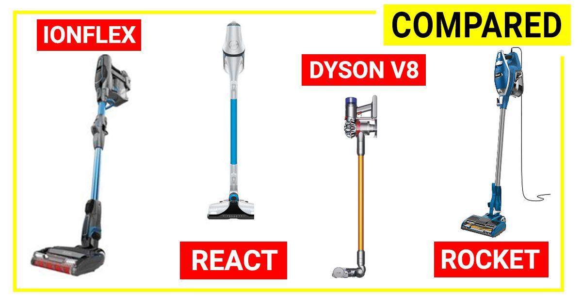 Compare Shark Ionflex/ Dyson V8/ Hoover REACT/ Shark