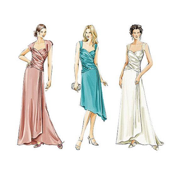 WOMENS EVENING GOWN Pattern Fit Flare Cocktail Wedding Dress Bridesmaid Bridal Gown Vogue 8150 Size