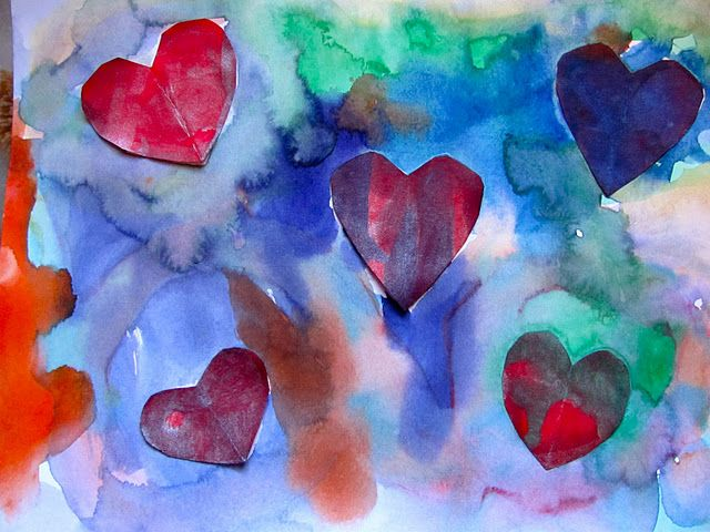 Water color hearts/ with childrens book reference. The Day it Rained Hearts by Felicia Bond