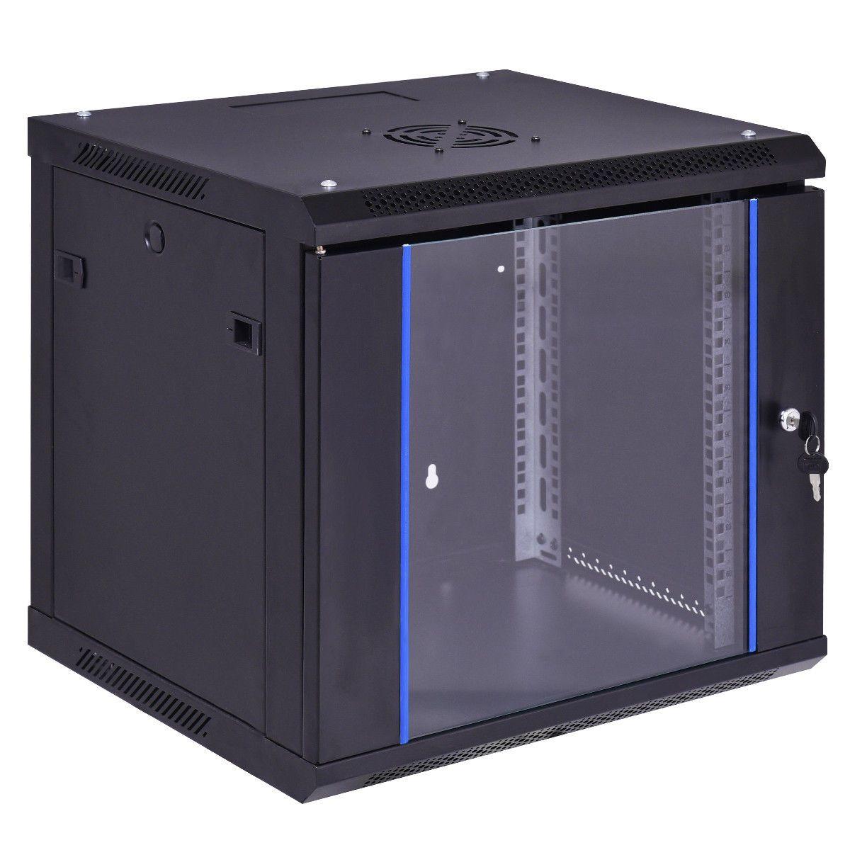 9U Server Cabinet Glass Locking Door w// Key Wall Mount Network Rack Black
