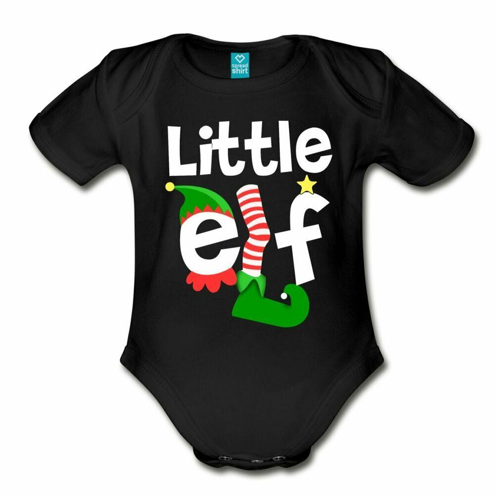 Little Elf Funny Christmas Organic Short Sleeve Baby