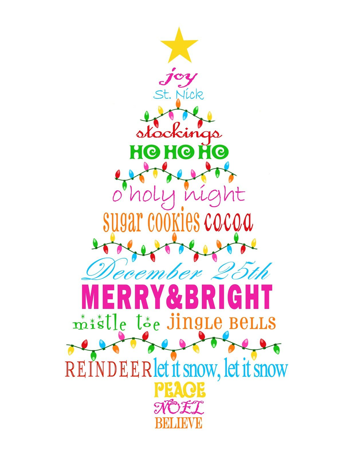 Free Printable - MBC: {Merry & Bright} Christmas Tree Subway Art ...