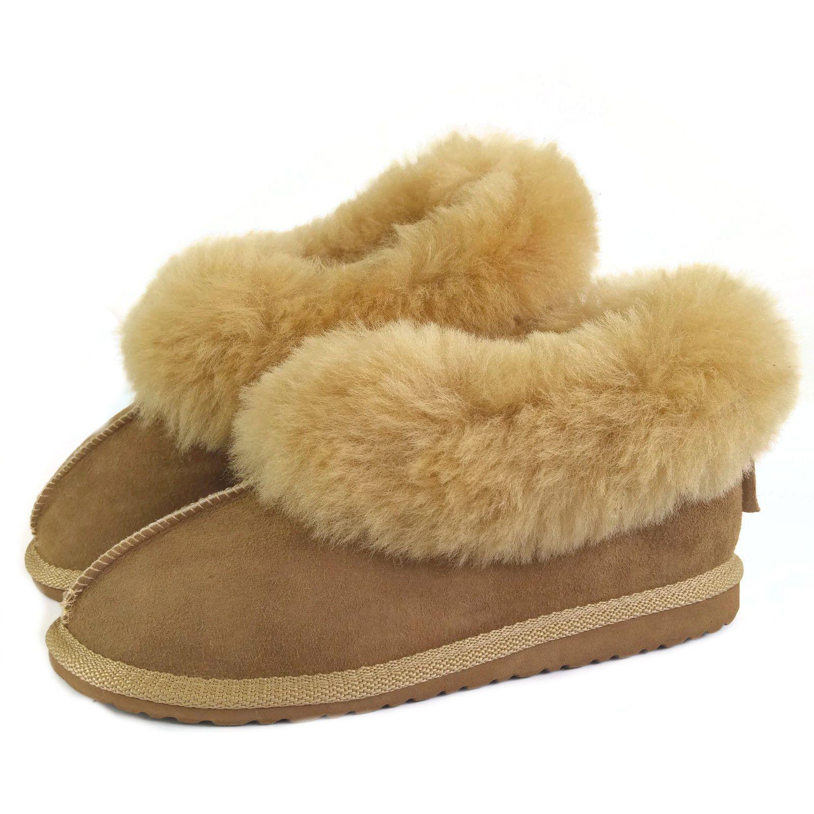 New Ladies Handmade Premium 100% Pure Twinface Sheepskin Slippers EVA Sole Box