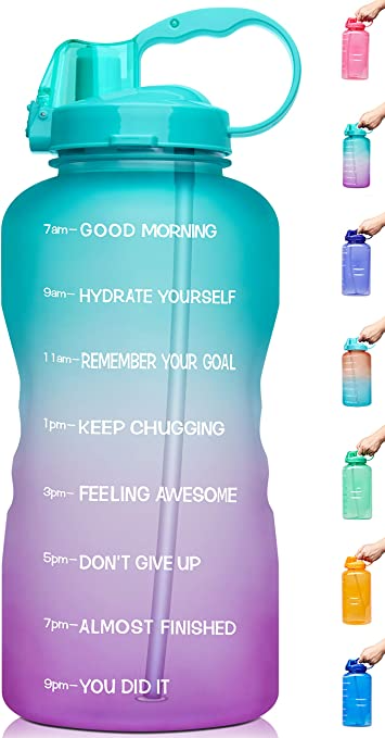 Venture Pal Large 1 Gallon//128 OZ Motivational BPA Free Leakproof Water Bottle with Straw /& Time Marker Perfect for Fitness Gym Camping Outdoor Sports When Full
