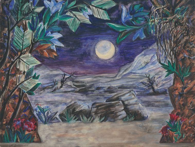 Goncharova Natalia 1881 1962 Stage Design For The Opera The Golden Cockerel By N Rimsky Korsakov 1914 Art Animals Wild Painting