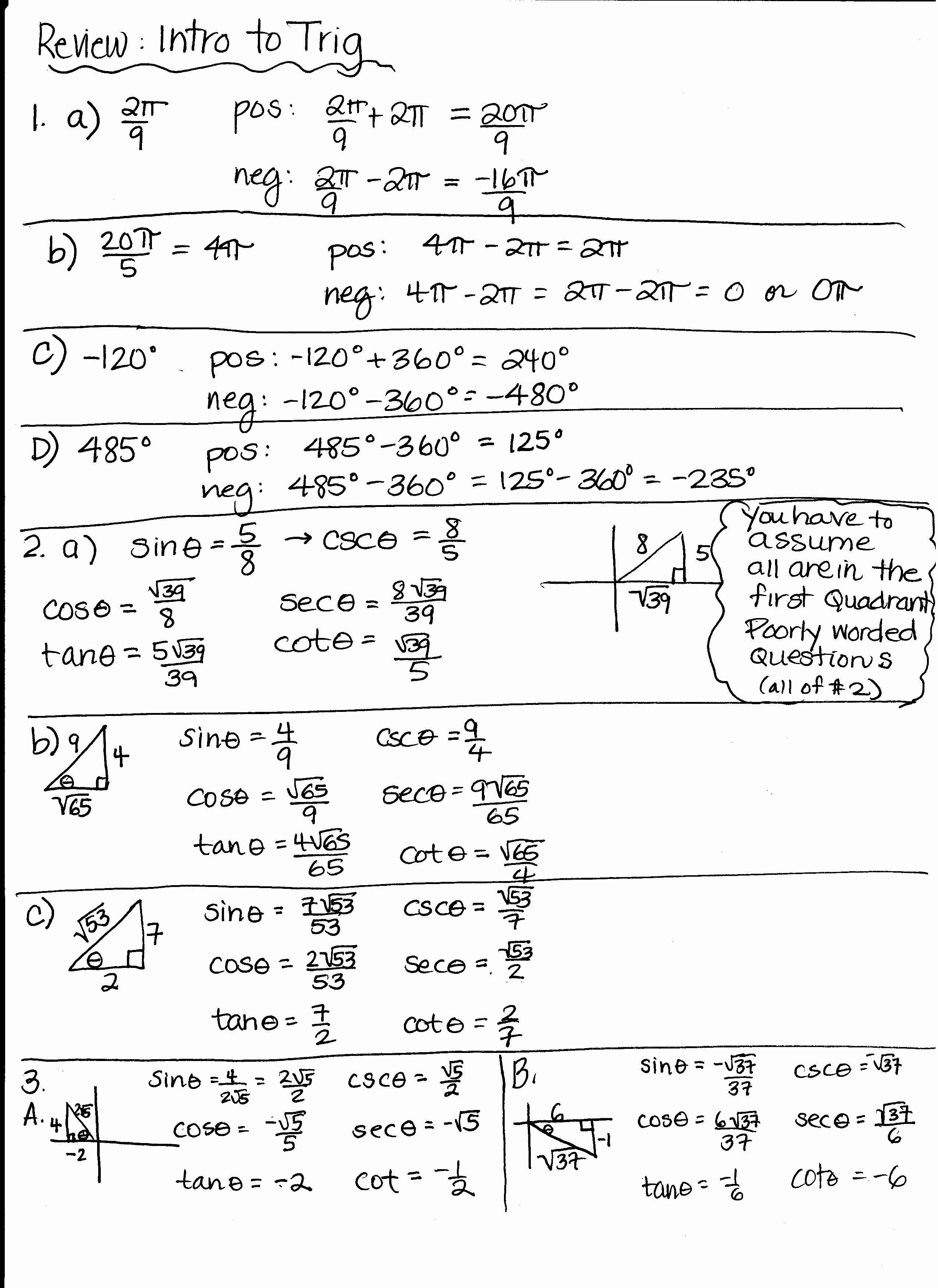 Unit Circle Worksheet With Answers Unique Precalculus Unit