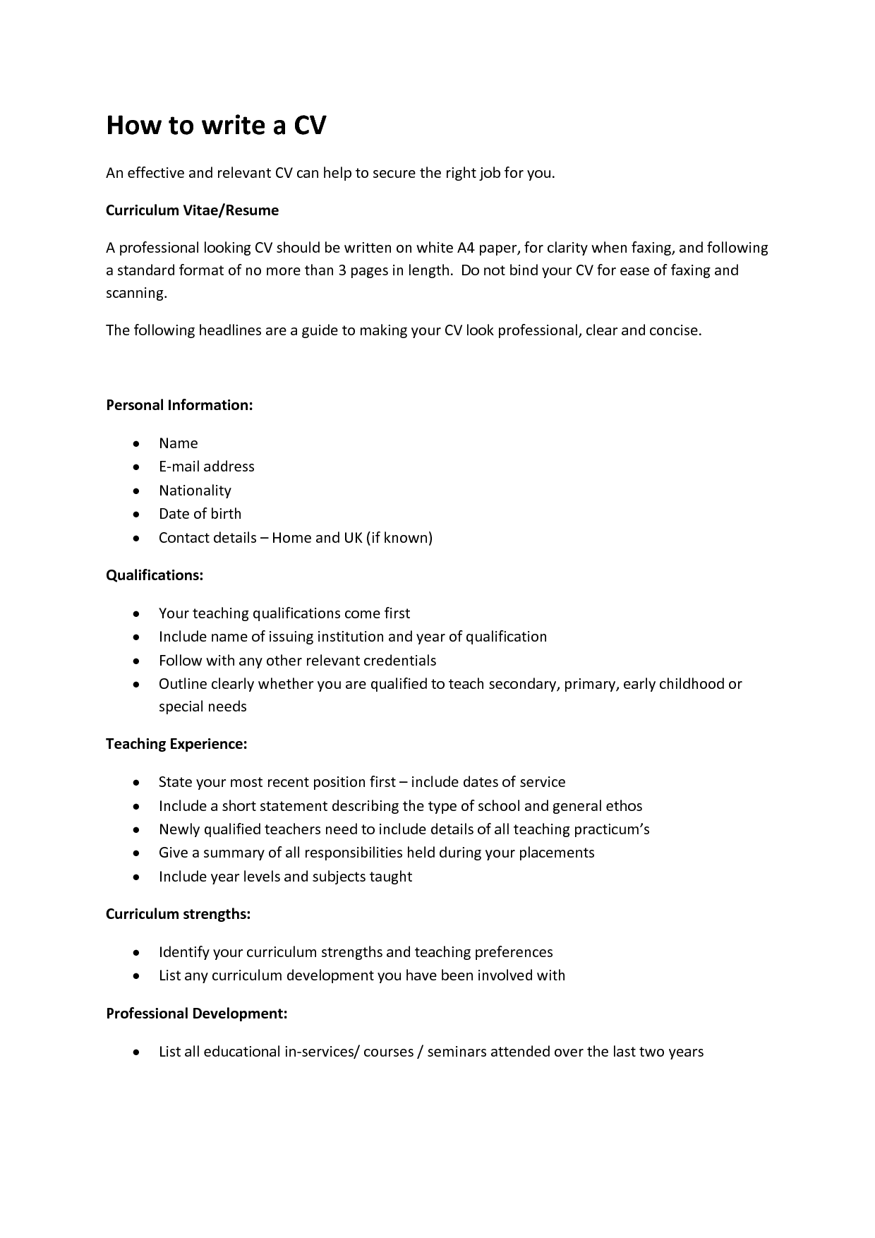WRITING A CV Easy TemplatesWriting A Resume Cover letter examples ...