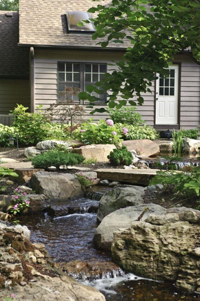 gartenideen wasser steine pflanzen Garten, Sitzecken + Wasser - bilder gartenteiche mit bachlauf
