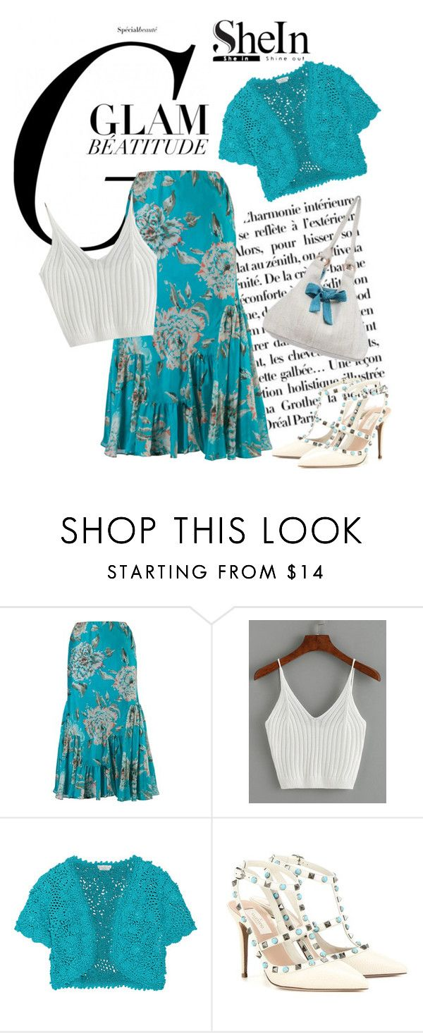 """""""SheIn ribbed knit crop cami top"""" by lorrainekeenan ❤ liked on Polyvore featuring Chesca, Oscar de la Renta, Valentino and NOVICA"""