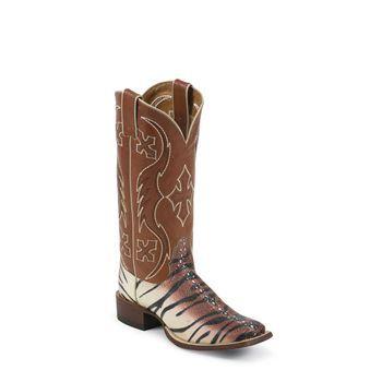 "Nocona Women's Safari 13"" Tiger Ray Print Western Boots"