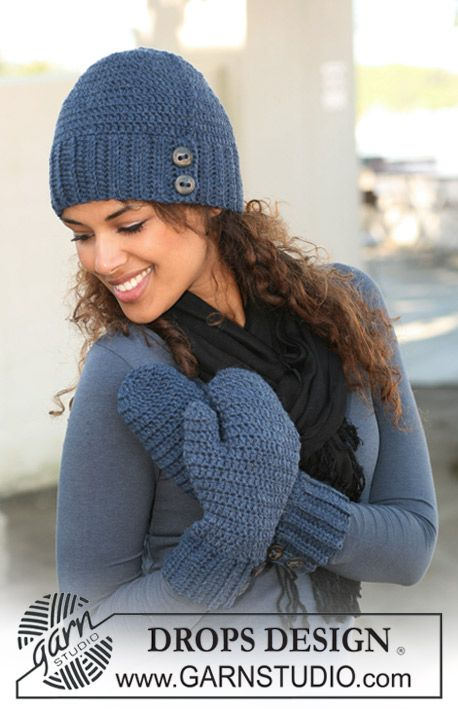 "Gorro DROPS en ganchillo / crochet con ""Alaska"". Diseño DROPS ..."