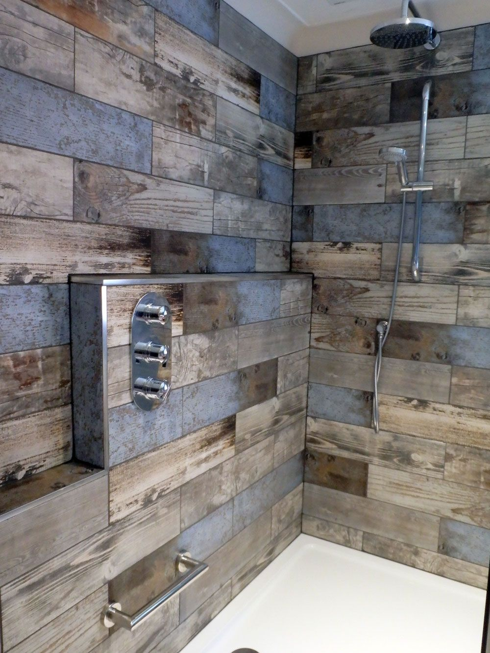 Rustic Bathroom Wall Cabinet: Wood Effect Tiles In Shower Area
