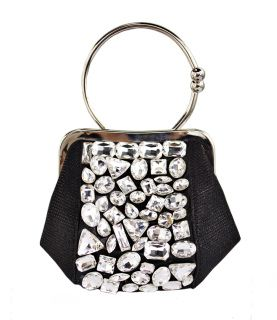 """Cute and compact but not short on sparkle. A great holder for lipstick, a wad o' cash, your id and cell, the only things you'll ever need at a soiree. Comes with a removable chain strap for no-fuss carrying.    Approx. 9"""" X 5"""" X 3""""  Imported  Glass Crystal"""