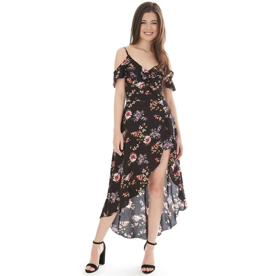 6dd008982 Juniors' IZ Byer Cold Shoulder Asymmetrical Walkthrough Dress, Teens, Size:  11, Black Floral