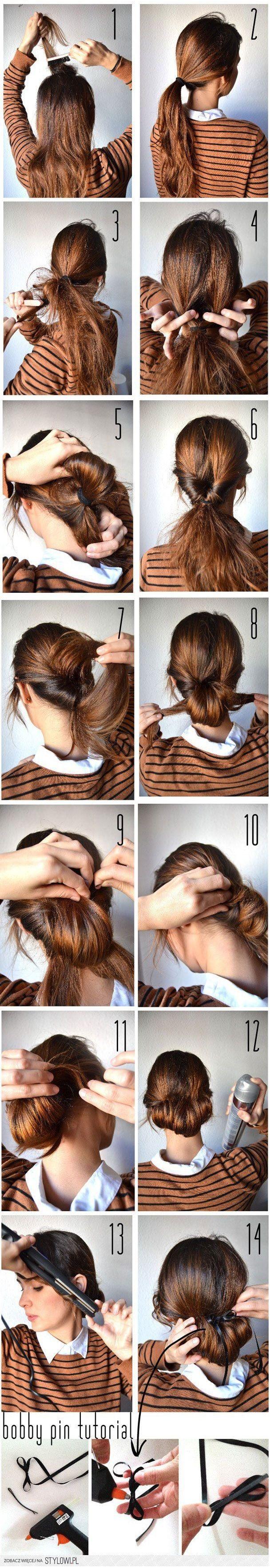 Tuto chignon - Tutoriel photo | Coiffures chignon facile, Tuto coiffure et Chignon coiffure en ...