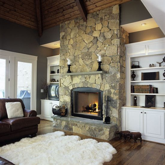 stone fireplace with built-ins home decor Pinterest Family