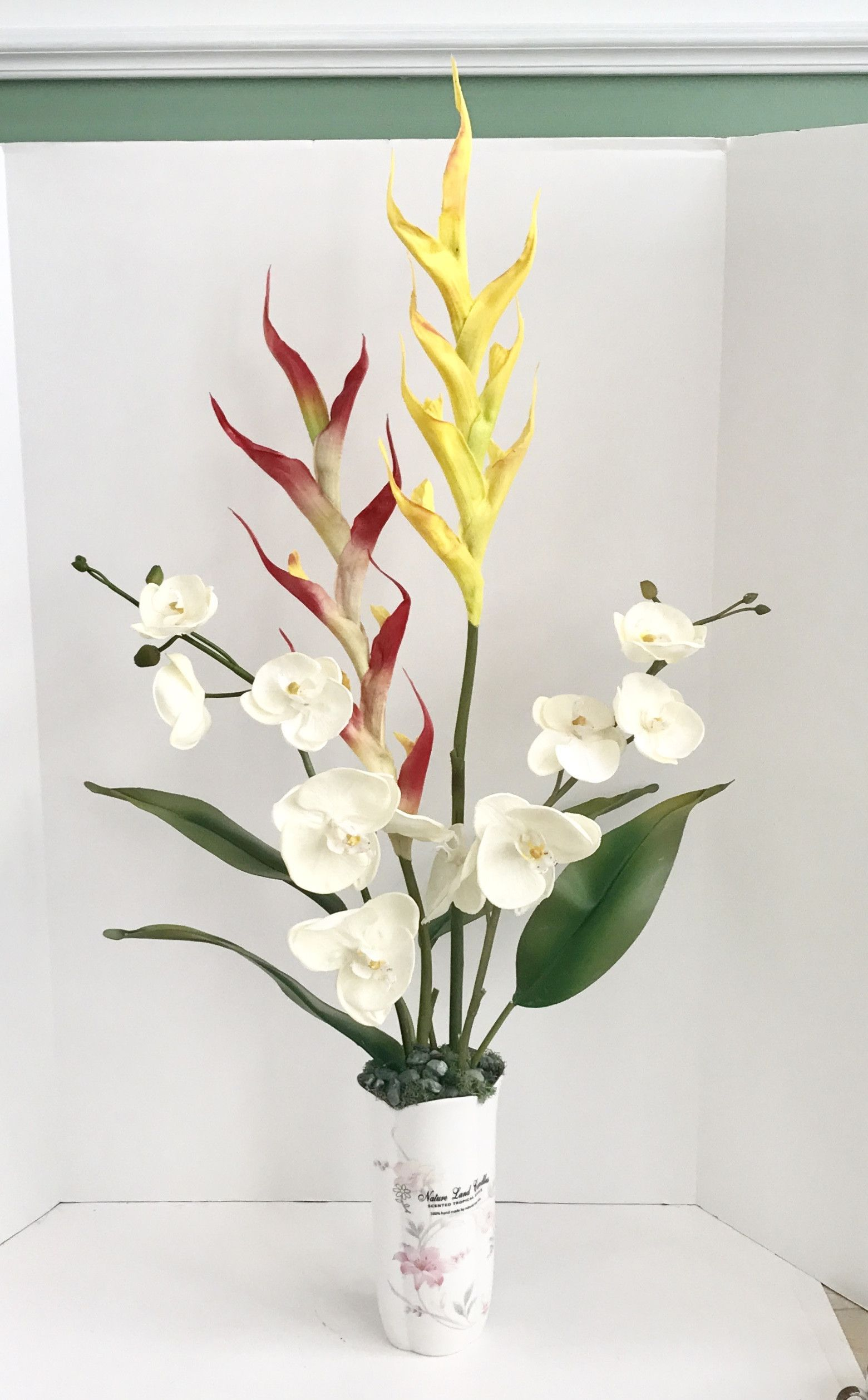 Silk White Orchids with Yellow and Red Dragon Floral Arrangement ...