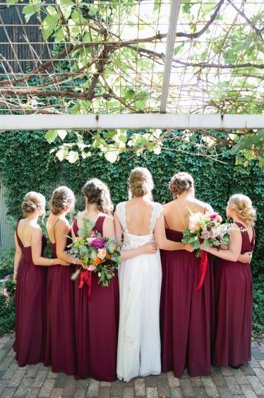 dc7764d3f0e16 maroon bridesmaid dresses, orange, pink and white flowers plus lots of  greenery and ribbons! #blancbride #blancdenver