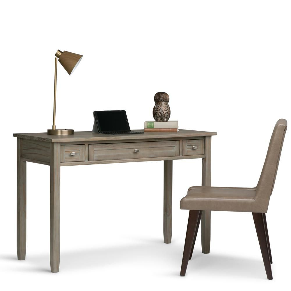 Warm shaker distressed grey wood desk