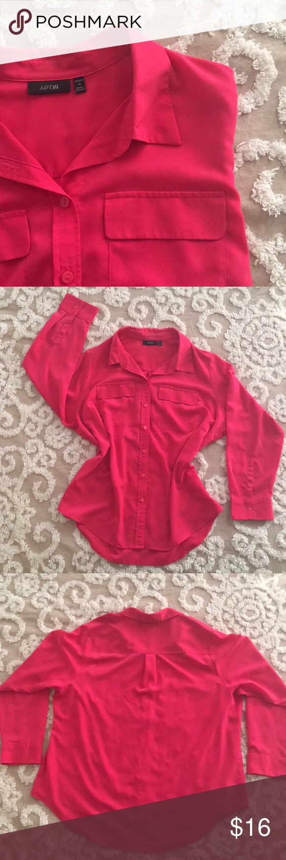 Tab Pocket Womens Blouse Hot Pink Times And Woman