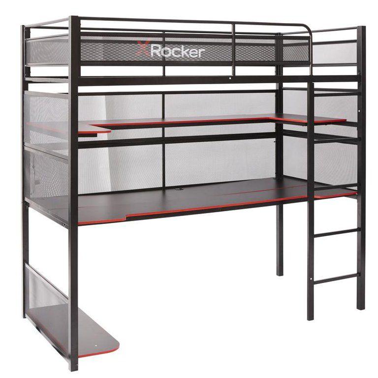 X Rocker Gaming Bunk Bed Metal Shelves Twin Black Walmart Com In 2021 Bunk Bed With Desk Metal Bunk Beds Kid Beds