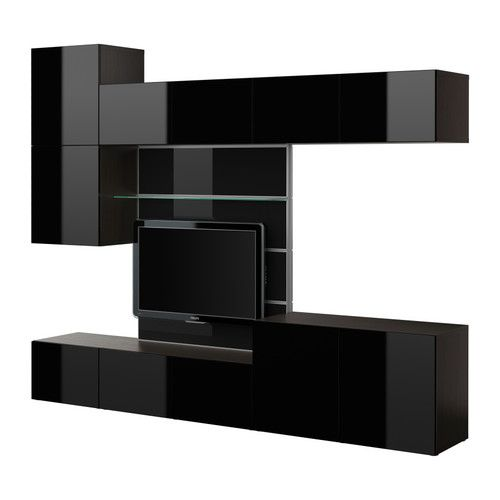 besta tv panel with media storage brown high gloss » besta tv