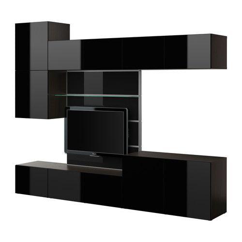 BESTÅ TV panel with media storage blackbrown/high gloss