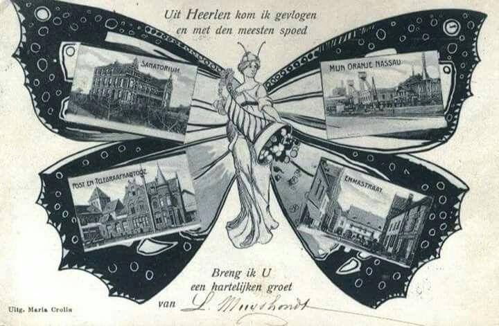 """Een leuke """"antieke"""" ansichtkaart    met groeten uit Heerlen."""