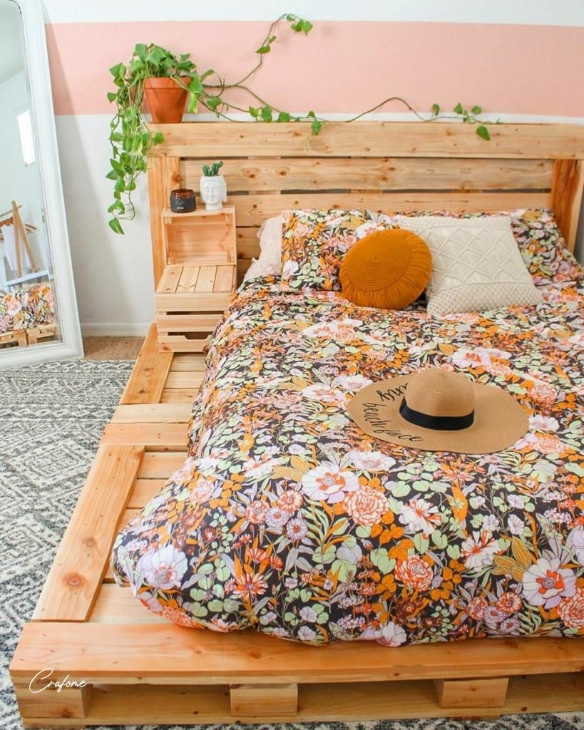 50+ Adorable Pallet Bed Ideas You Will Love | Bohemian ... on Pallet Ideas For Bedroom  id=55407
