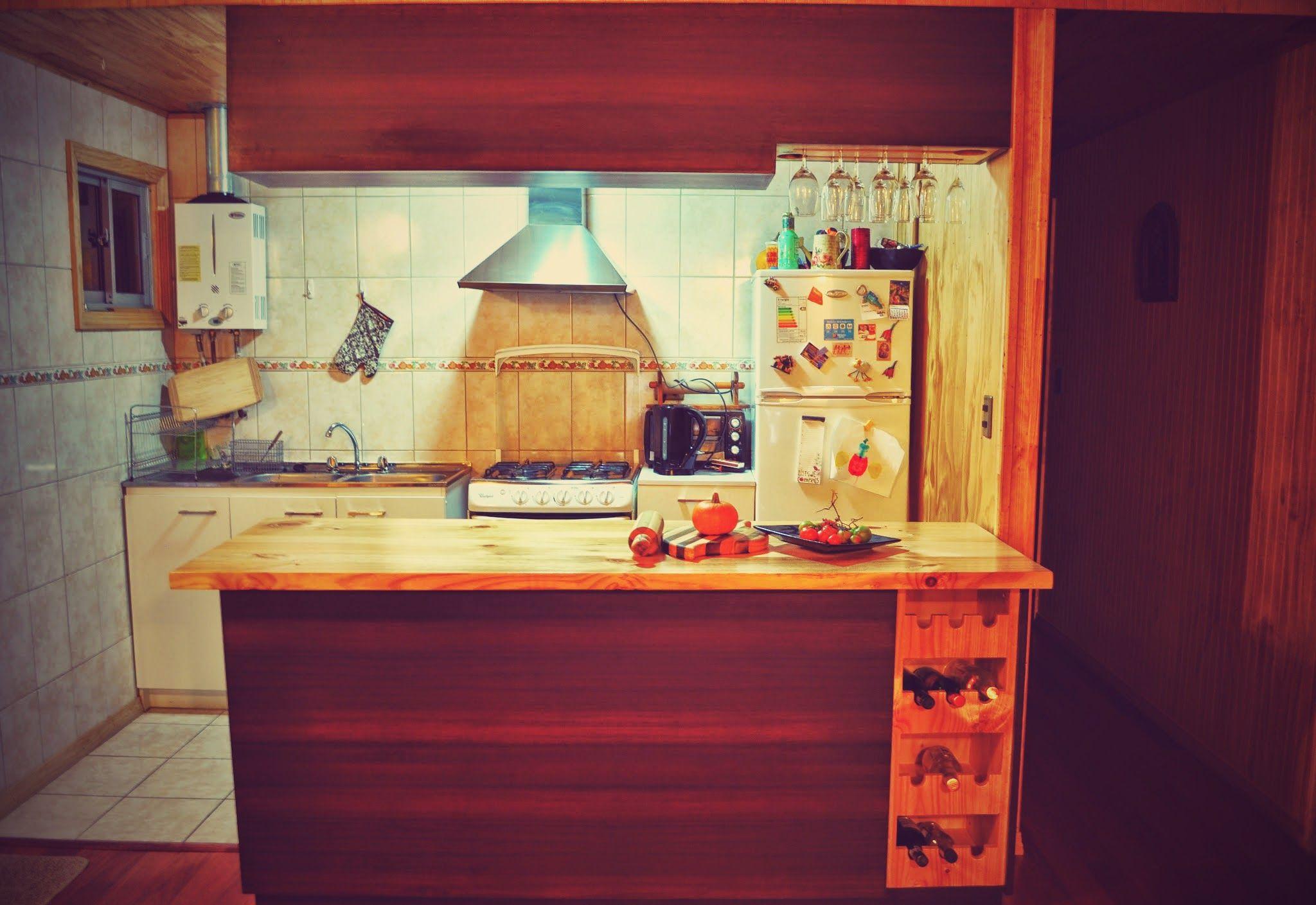 Mueble colgante y mesón estante   Muebles cocina americana ...