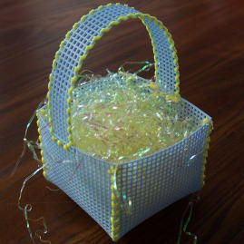 Craft: Easter craft project instructions to make a plastic canvas Easter basket; Craft Elf