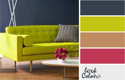 Сочетание темного серо-синего оттенка с жизнерадостным шартрезом смотрится привлекательно и контрастно. Такое сочетание можно дополнить цветом бука, красно-розовым, белым и темно-серым. Этот вариант комбинации более красочен, чем сочетание с оттенками зеленого и серого.