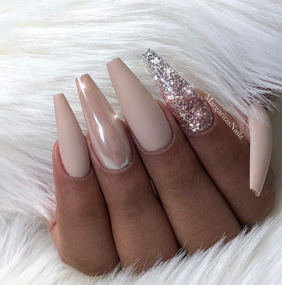 e0edbb7f32bf Nude matte coffin nails Glitter ombré and chrome Nail art design Wedding  nails ...