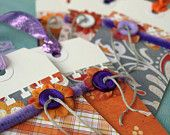 one of a kind handmade gift tags - Specialty Tag Set - pumpkins and plums