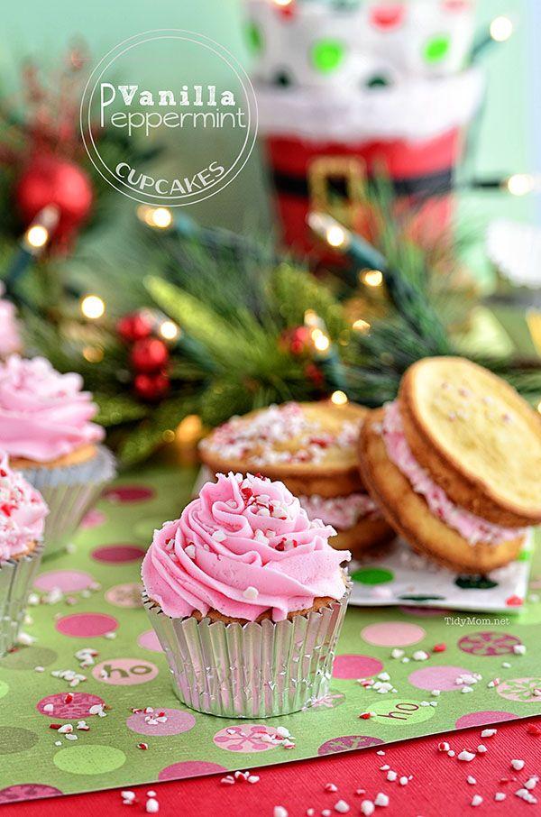 Vanilla Peppermint Cupcake recipe at TidyMom.net  #HolidayIdeaExchange