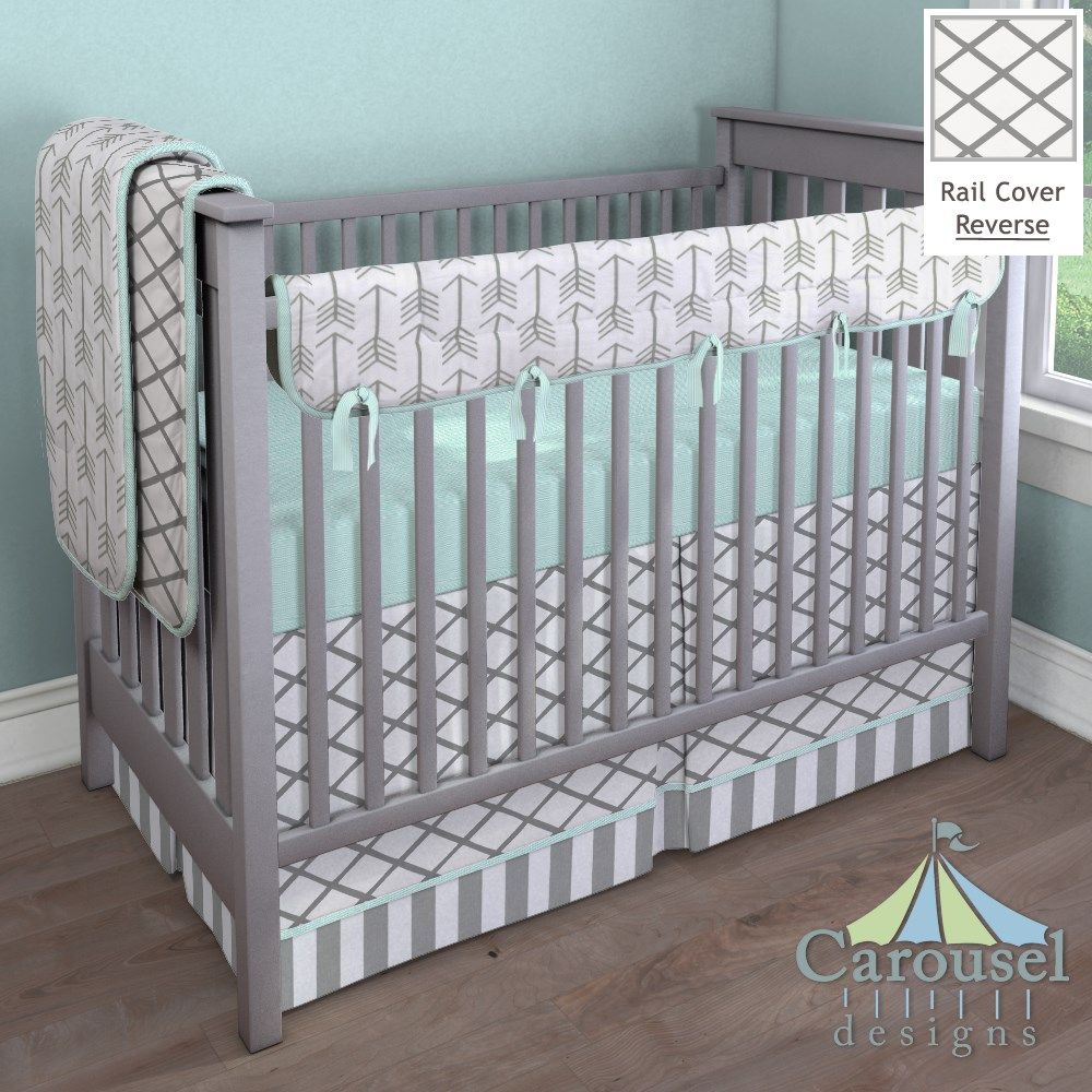 Mint Gray Arrow Modern Baby Bedding
