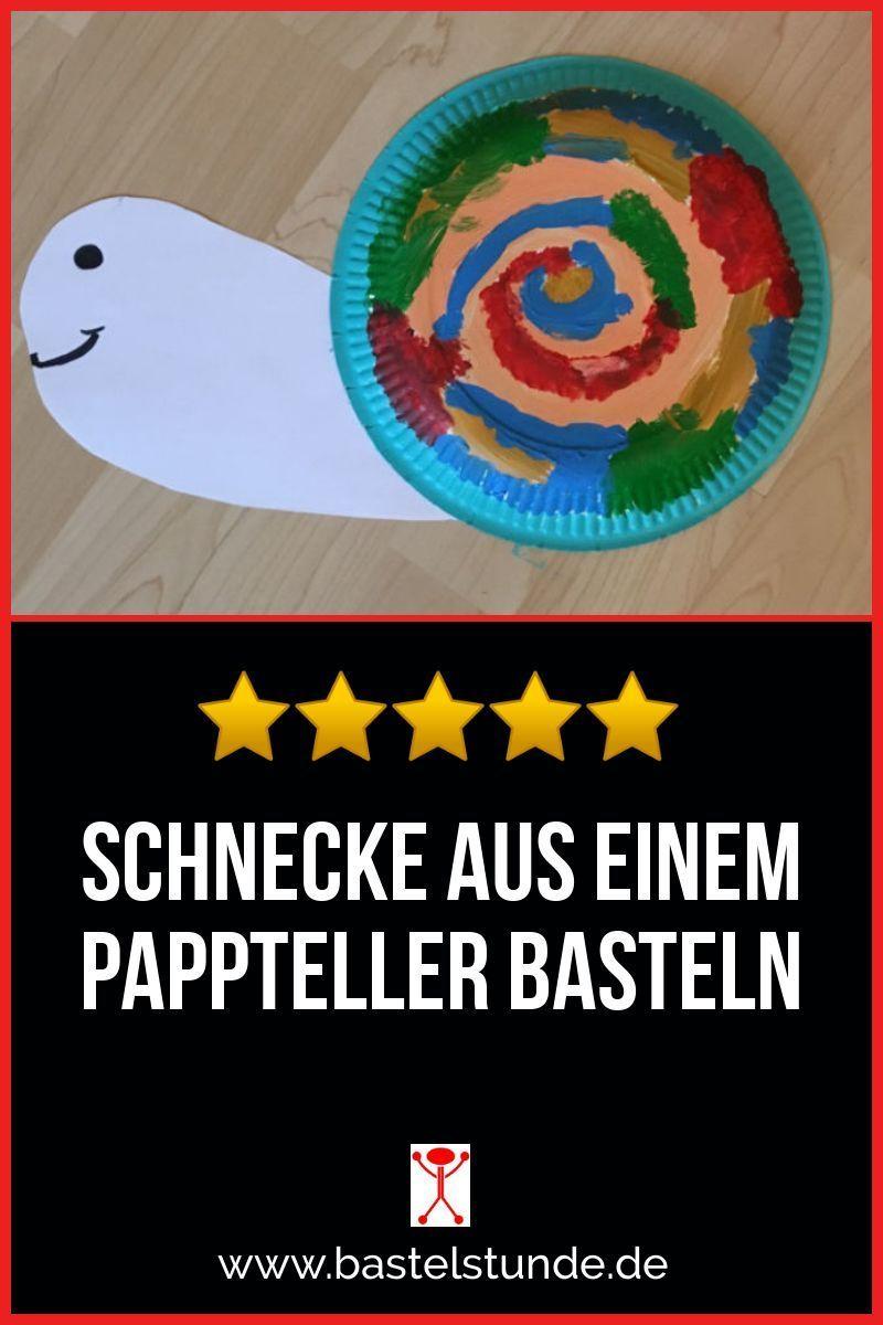 Tiere aus Papier basteln - eine kleine Schnecke aus einem Pappteller