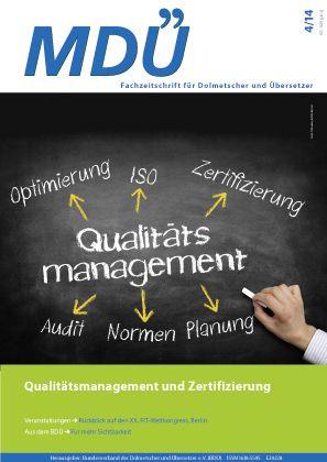 """Fachzeitschrift MDÜ - Ausgabe 2014-4 """"Zertifizierung und ..."""