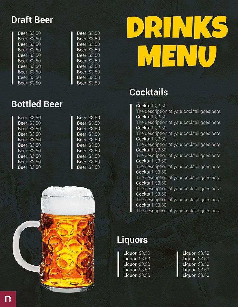 Free Drinks Menu Template Menu Template Drink Menu Restaurant Menu Template